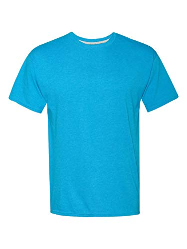 - Hanes Men's X-Temp Crewneck Short-Sleeve T-Shirt (3X-Large), Neon Blue Heather