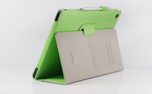VSTN Sony Xperia Tablet Z SO-03E Stand PU Leather Cover Case with Hand Strap&Card Holder(For Sony Xperia Tablet Z, Green)