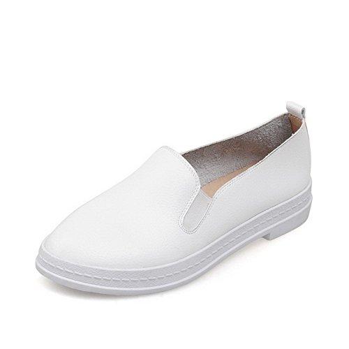Amoonyfashion Womens Ronde Fermé Orteil Pull Solide Bas Talon Pompes-chaussures Blanc