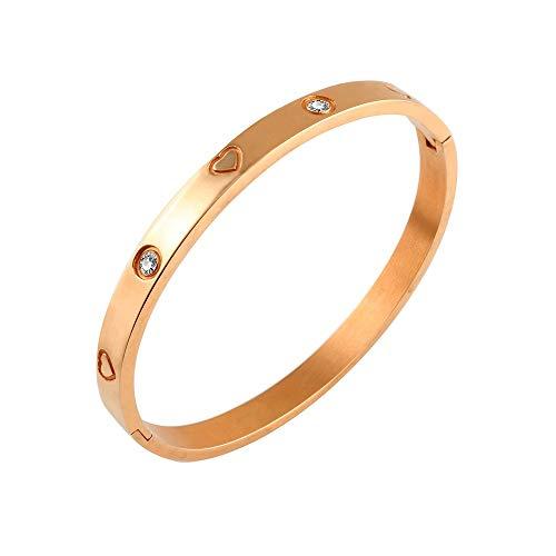 Designer Inspired Titanium Steel Engraved Love Heart Bracelet with Swarovski Crystals (Rose Gold)