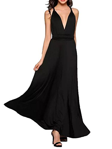 (CHOiES record your inspired fashion Women's Infinity Gown Dress Black Multi-Way Strap Wrap Convertible Maxi Dress XL)