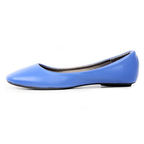DEV Women Ballerina Ballet Flat Basic Round Toe Sexy Comfort Soft Slip on Shoes Blue