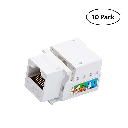 - Generic Keystone Jack RJ45 Ethernet Module Cat6 Network Coupler Punch Down Adapter Compatible Cat 6/5e/5 Connector(10 Pack)