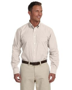 Chestnut Hill CH600 Mens Executive Performance Broadcloth - STONE GINGHAM - 2XL (Shirt Chestnut Mens)