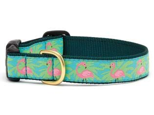 Up Country Pink Flamingo w Palms Dog Collar by (Medium)
