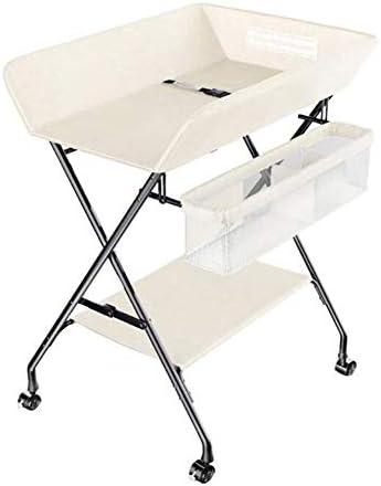 おむつ交換台 0-3歳の新生児、収納付き携帯用おむつテーブル、折りたたみクロスレッグスタイル、丈夫な生地とスチールパイプ