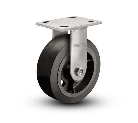 "Albion 16MR06201R 6"" Diameter Moldon Rubber on Cast Iron Wheel Medium Heavy Duty Rigid Caster, Roller Bearing, 4-1/2"" Length x 4"" Width Base Plate, 500 lb. Capacity"