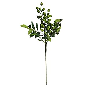 Fine Fake Berry Branches Green Artificial Berries Stems for Crafts Decoration Flowers Arrangements Bouquets Plastic Plants Floral Greenery Stems for Home Party Wedding Decoration (Green) 4