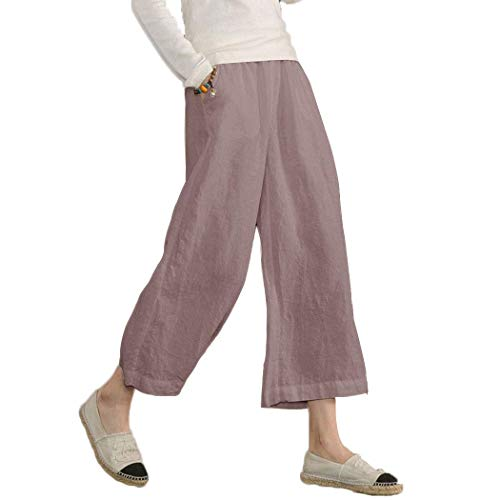Ecupper Women's Elastic Waist Causal Loose Trousers Plus 100 Linen Cropped Wide Leg Pants Light Purple, US 14-16=Tag -