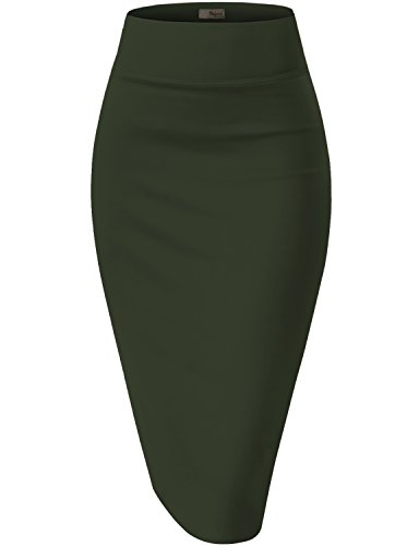 Womens Pencil Skirt for Office Wear KSK43584X 1139 Olive 2X ()