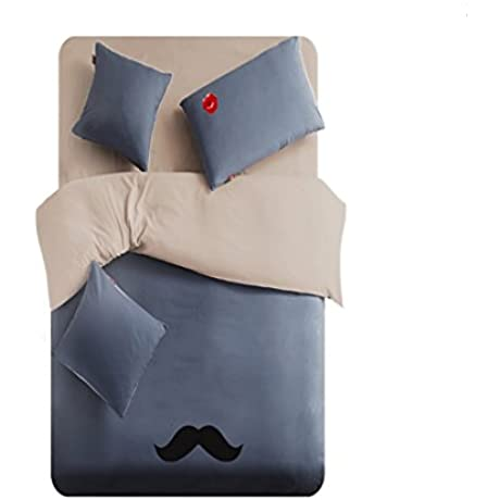 Linta Navy Beard Pattern Bedding Set Twin