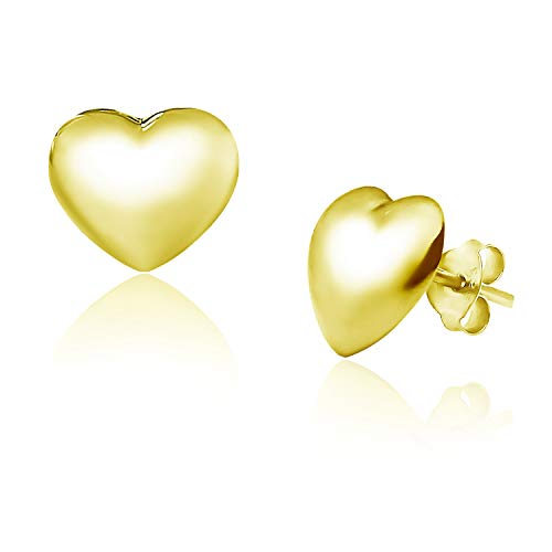 Big Apple Hoops - Genuine 925 Sterling Silver Love Hollow Puffed Heart Stud Earrings I in 3 Finishes (Silver, Yellow Gold and Rose Gold) ()