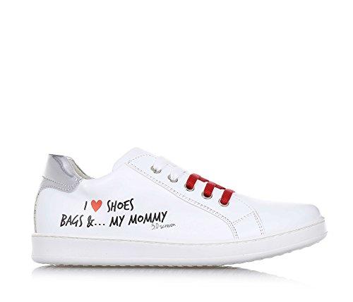 3.0 BERLIN - Chaussure à lacets blanche, en cuir, avec un style énergique et original, estampe décorative, Fille, Filles, Femme, Femmes