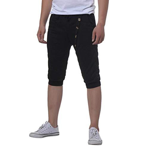 Nuit Hommes Mode Bouton Survêtement Loisirs Gymnastique Bodybuilding Tops Pour Chic Schwarz Jogging Pantalon De Extensible Élastique Shorts Sport Pyjama Ba5wqT8