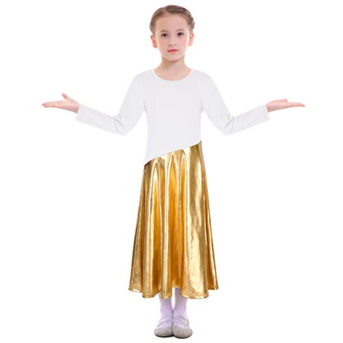 - OBEEII Toddler Kid Girl Praise Dance Dress Long Sleeve Metallic Liturgical Loose Fit Swing Full Length Shiny Skirt Worship Costume