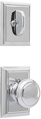Schlage Lock Company F94AND625ADD Bright Chrome Interior Pack Andover Knob Dummy Interior Pack with Deadbolt Cover Plate and Decorative Addison Rose