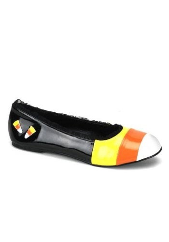 Funtasma by Pleaser Women's Candykorn-12 Flat,Black/Yellow/Orange,7 M US (Halloween Shoes)