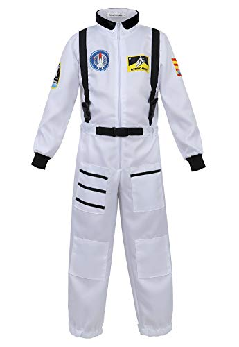 Kids Astronaut Costume Role Play Set for Boys Girls Toddlers Teens Spaceman Jumpsuit Space Suit Dress up White L