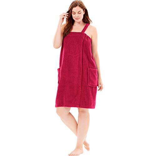 (Dreams & Co. Women's Plus Size Terry Towel Wrap - Classic Red, 34/36 )