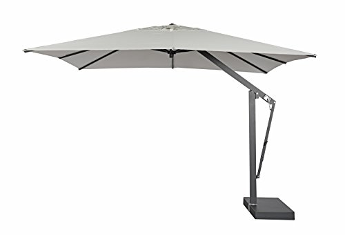 "Series Offset Patio Umbrella (POGGESI Summer 11'6"" Square Outdoor Patio Cantilever Umbrella with Aluminum Frame – Rectangular Base Included – No Weights – White Canvas, Graphite Structure)"