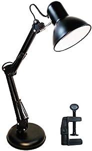 Luminária Articulada De Mesa Com Base Abajur Estudo Trabalho Tipo Pixar (Preta)