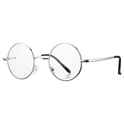 COASION Vintage Round Clear Glasses Small Metal Frame Non Prescription Lens Eyeglasses (Silver)