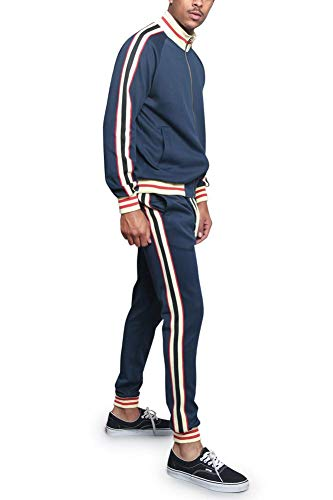 G-Style USA Men's G Track Suit Set ST5014-577 - Navy - X-Large - I7A