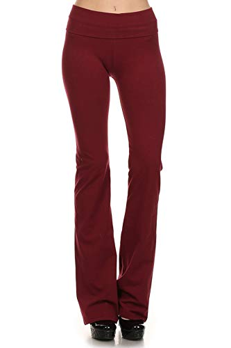 Burgandy Apparel - T Party Fold-Over Waist Yoga Pants, X-Large,Burgandy