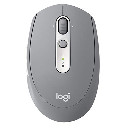 Logitech M585 Multi-Device Wireless Mouse – Control and Move Text/Images/Files Between 2 Windows and Apple Mac Computers and laptops with Bluetooth or USB, 2 Year Battery Life, Gray ()