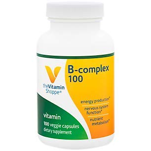 BComplex 100 – Supports Energy Production, Nervous System Function Nutrient Metabolism – Excellent Source of B1, B2, B6, B12, Niacin, Folic Acid Biotin (100 Veggie Caps) by The Vitamin Shoppe