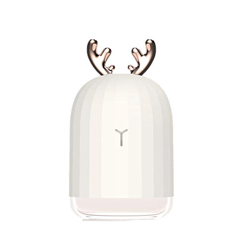 (LOadSEcr's Essential Oil Diffuser, Cute Deer/Rabbit LED USB Home Office Car Air Aroma, Cool Mist Humidifier Ultrasonic Aromatherapy Diffuser Large Capacity - White)