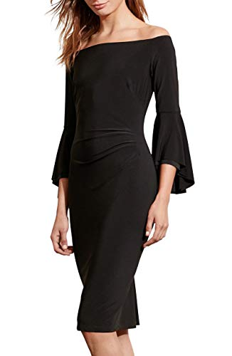 Women's Off-The-Shoulder Sheath Dress Black 18 ()