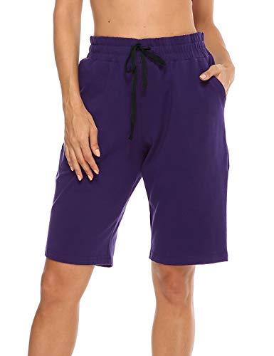 MOCOLY Women's Cotton Bermuda Yoga Shorts Lounge Indoor Straight Leg Half Length Active Workout Shorts