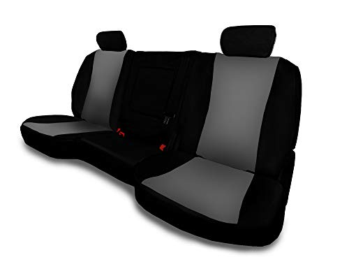 CarsCover Custom Fit 2015-2019 GMC Yukon XL/Yukon/Denali/SLE/SLT Neoprene SUV Car 2nd Row 60/40 Seat Covers with Armrest Gray & Black Sides