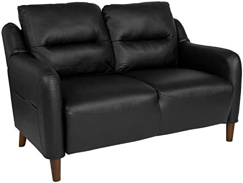 Flash Furniture Newton Hill Upholstered Bustle Back Loveseat in Black LeatherSoft