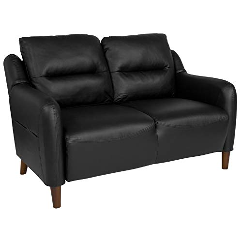 Flash Furniture Newton Hill Upholstered Bustle Back Loveseat in Black Leather
