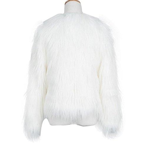 Tongshi Nuevas mujeres de las señoras caliente de piel sintética de Fox chaqueta de la capa del invierno Parka Prendas de abrigo Blanco