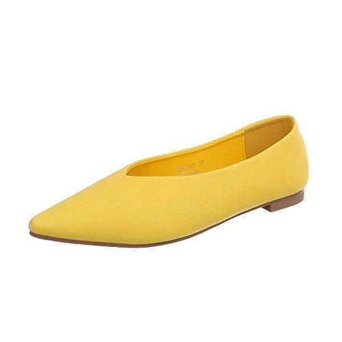 Damen Schuhe Ballerinas Pumps Gelb