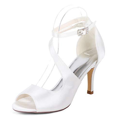Raso Cinturino Sposa Da White Seraph Prom Pompe 19 Sandali Toe Caviglia Peep 9920 Donne Partito Alti Fibbie Nozze Tacchi xq7vBF