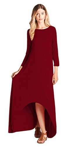 Tabeez Women's Solid Loose 3/4 Sleeve High Low Jersey Maxi Dress (Small, Burg. (Burg Jersey)