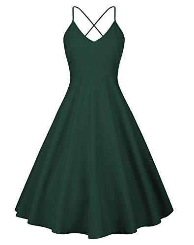 Adjustable Dress - Eliacher Women's Deep V Neck Adjustable Spaghetti Straps Summer Dress Sleeveless Sexy Backless Party Dresses with Pocket (S, Green)