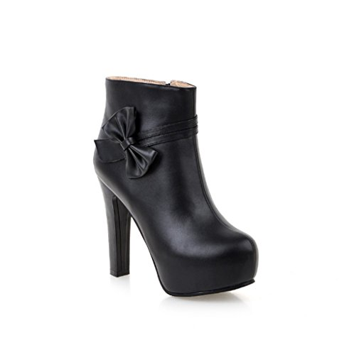 e moda de invierno botas Bowknot al agua lateral XZ Zapato resistente cremallera de tacón alto Negro de con con Botas otoño w0OIqZYF