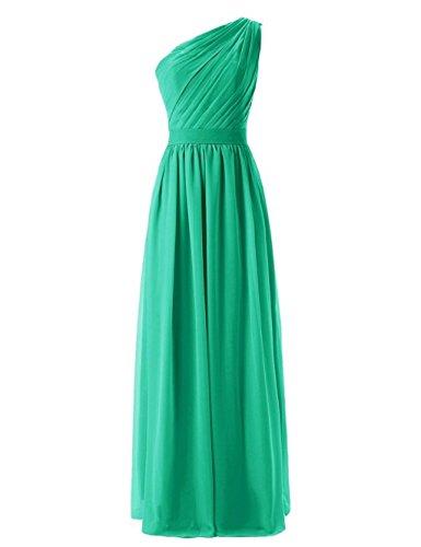 Damen One Gray Shoulder Wedding Green Fanciest Lang Kleider Party Brautjungferkleider Formelle w6RnB