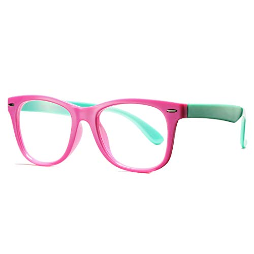 COASION Kids Clear Glasses for Little Girls Boys, Geek Fake Nerd Eyeglasses for Costume (Age 4-12) (Pink)