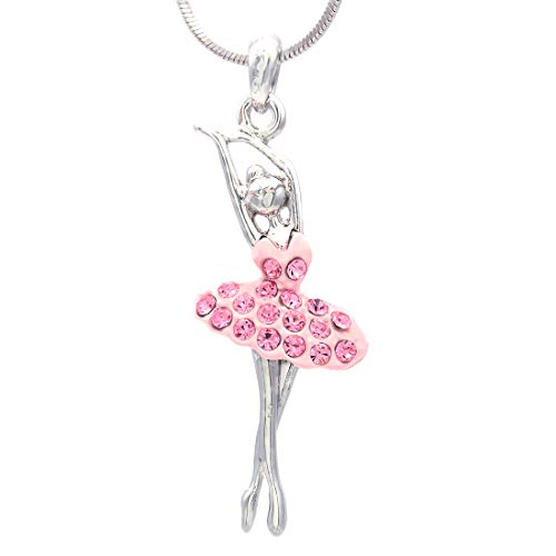 Soulbreezecollection Ballerina Dancer Ballet Dance Pendant Necklace Charm Pink Ballet Dress Jewelry (Light (Dance Pendant Necklace)