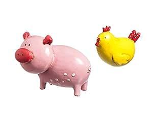 Nuevo Creative Pig y pollo Mini jardín 2piezas