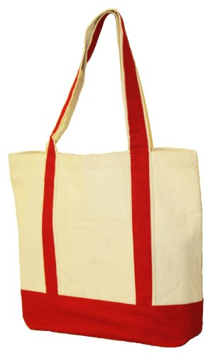 Cotton Boat Tote - 10oz.Cotton Canvas Boat Totes with Front Pocket size 16