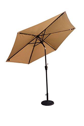 Cheap CORAL CASTLE 9′ Solar LED Light Patio Umbrella (Tan)