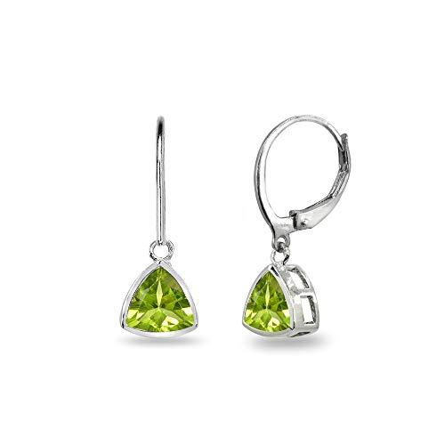 (Sterling Silver Peridot 7mm Trillion Bezel-Set Dainty Dangle Leverback Earrings for Women, Teen Girls)