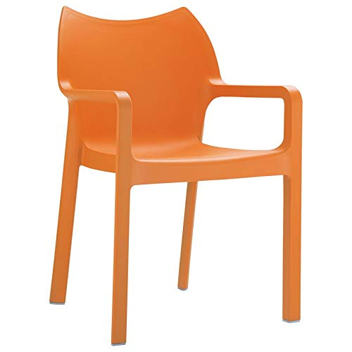 Diva Resin Outdoor Dining Arm Chair in Orange - Set of 4 ()